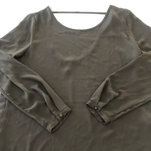 Long Sleeve Round Neck Chiffon Army Green Top